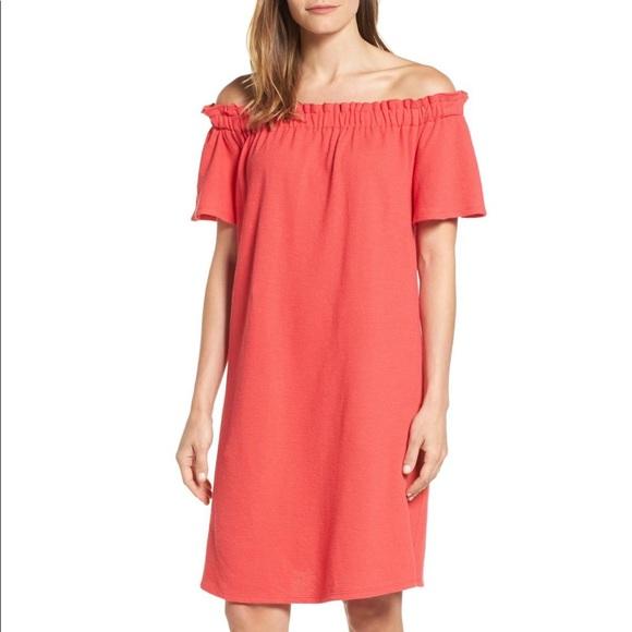 Caslon Dresses & Skirts - CASLON • Off Shoulder Slub Knit Cotton Coral Dress